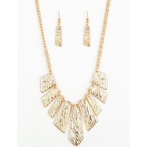 Jewelry - Texture Tigress Gold Necklace Earring Jewelry Set
